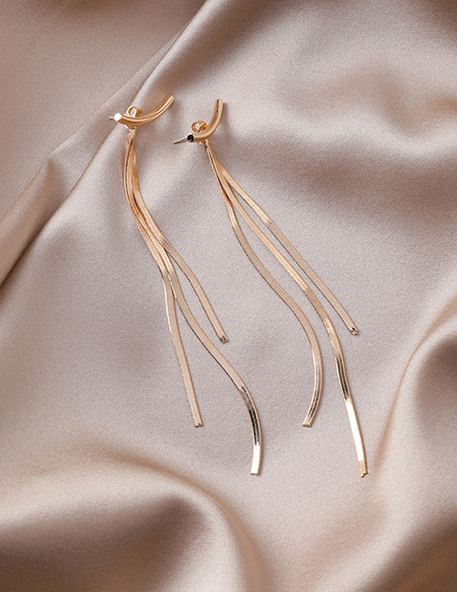 Fashion Gold 925 Silver Needle Curved Tassel Earrings