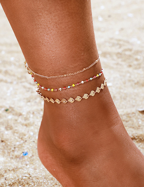Fashion Gold Rice Beads Scallop Beaded Fan-shaped Anklet 3 Piece Set