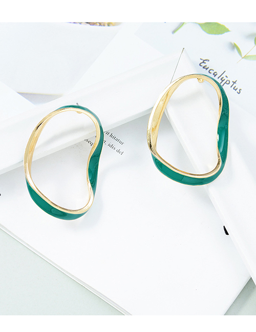 Fashion Green Geometric Drop Oil Alloy Earrings