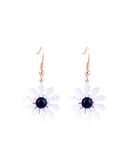 Fashion White Pearl Drop Oil Flower Earrings