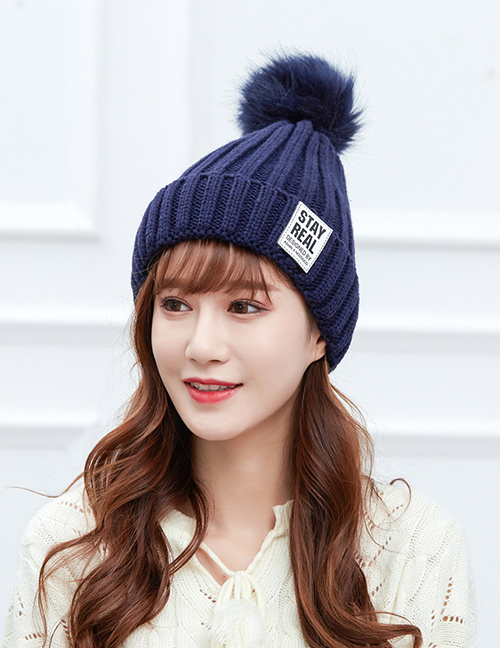 Fashion Navy Labeling Large Wool Ball Knitted Wool Cap