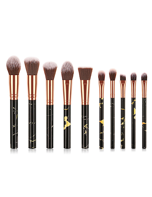 Fashion Black 10 Sticks With Marble Handle Brush