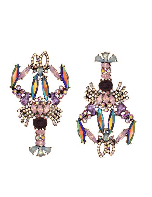 Fashion Purple Alloy-studded Asymmetric Crayfish Earrings