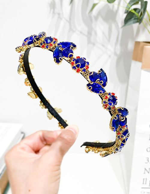 Fashion Royal Blue Alloy Rhinestone Drop Headband