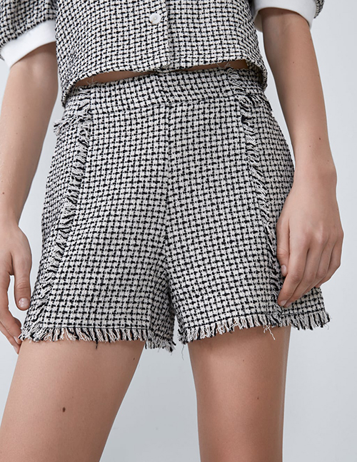 Fashion Black Tweed Shorts