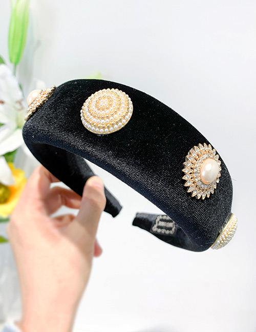 Fashion Black Fabric Alloy Pearl Flower Headband