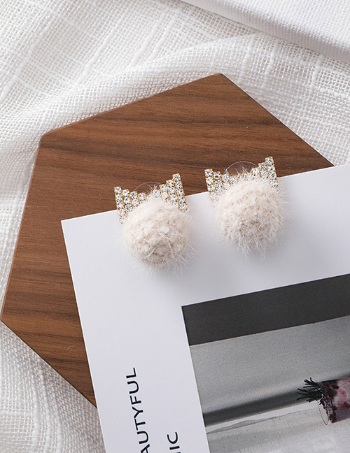 Fashion White 925 Silver Pin With Diamond Bow Ball Earrings