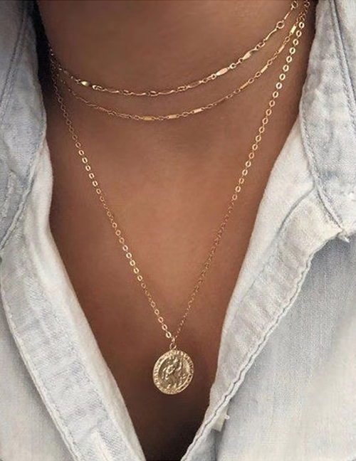 Fashion Gold Metal Dome Portrait Coin Multi-layer Necklace