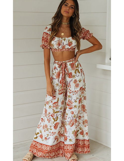Fashion Suits On White Printed Fungus Top + Wide Leg Pants Two Piece Set