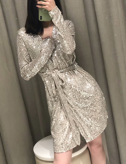 Fashion Golden Sequined Wrap V-neck Lace Dress
