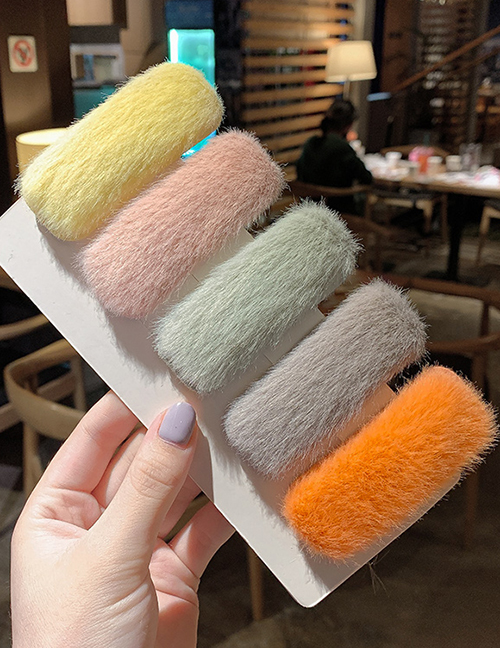 5 Sets Of Furry Squares Hairy Geometric Hair Clip  Alloy