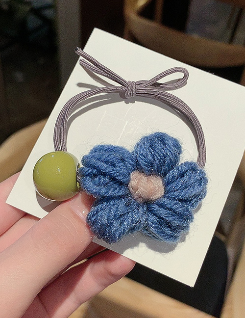 Blue Flower Yarn Felt Yarn Flower Hair Rope  Rubber Band