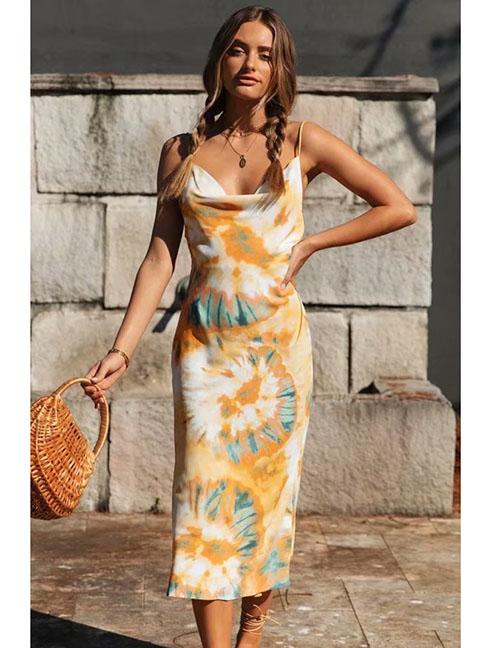 Fashion Orange Splatter Print Camisole Dress