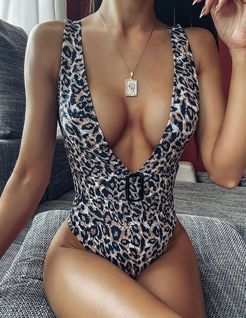 Fashion Leopard Print Leopard Print One-piece Swimsuit