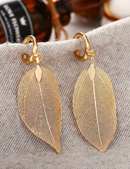 Fashion Golden Alloy Hollow Leaf Earrings