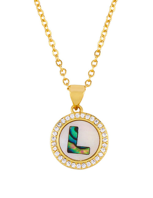 Fashion Golden L Alphabet Round Shell Diamond Necklace