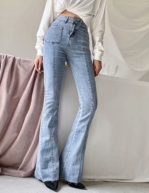 Fashion blue Washed High-rise Stretch-flare Jeans
