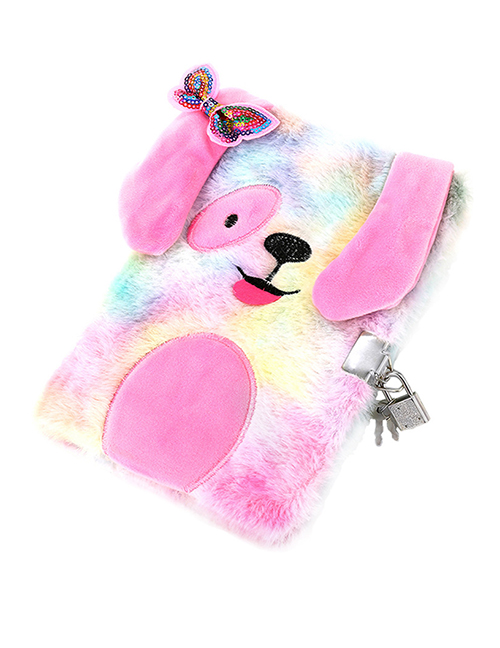 Fashion Color (with Lock) Puppy Plush Bow For Children With Lock Password Notebook