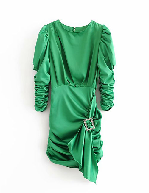 Fashion Green Pleated Open Back Dress