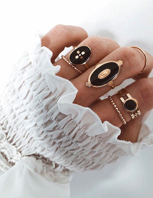 Fashion Golden Alloy Black Dripping Ring Set