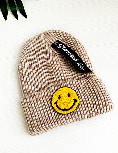 Fashion Khaki Smile Knitted Hats For Children