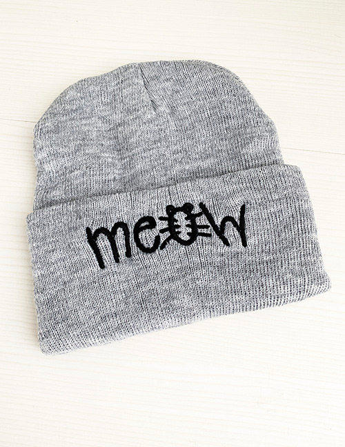 Fashion Gray Knitted Letter Children's Hat