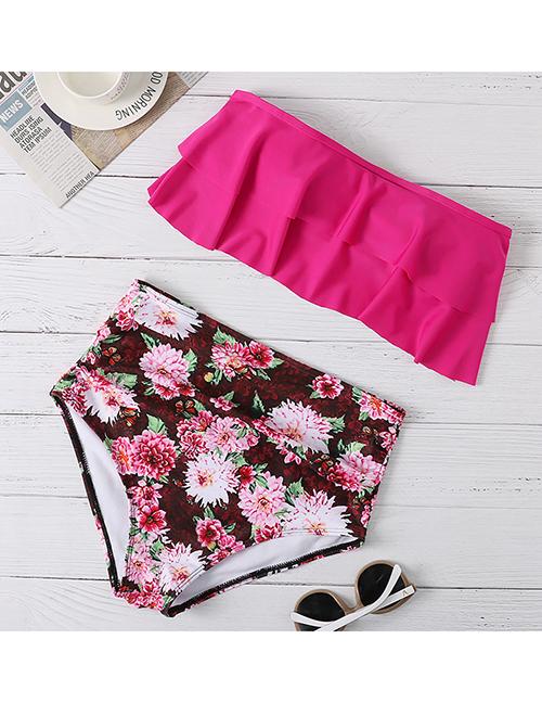 Fashion Rose Red Printed Ruffled Plus Size High Waist Split Swimsuit