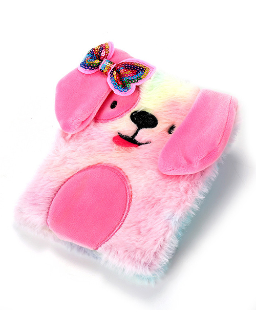 Fashion Color Plush Dog Bow Sequin Stitching Gradient Notebook