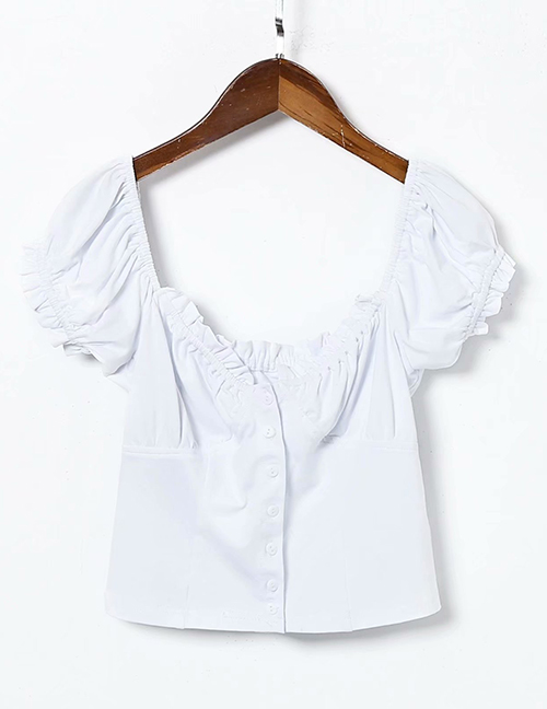 Fashion White Lace Square Collar Stretch-knit Single-breasted Puff Sleeve Shirt