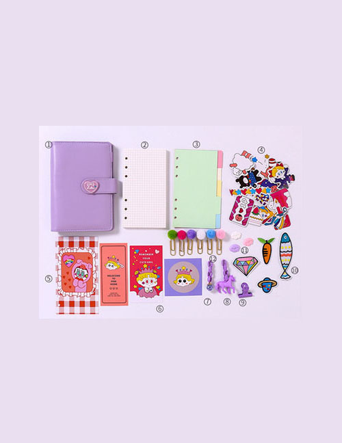 Fashion Ordinary Suit Purple Checkered Loose-leaf Notebook Stickers Sticky Note Set