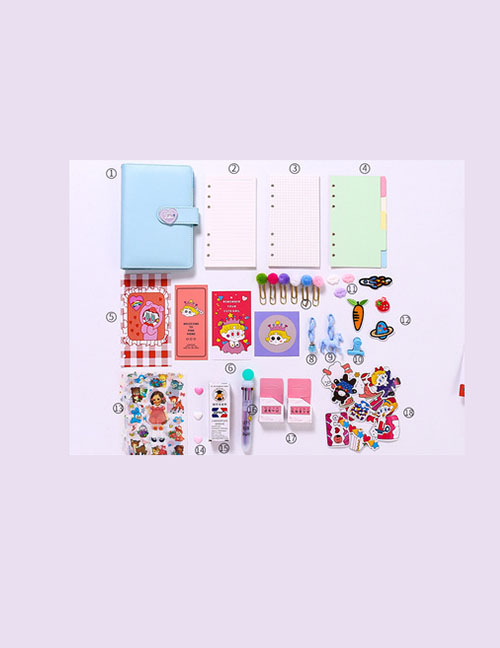 Fashion Luxury Suit Blue Checkered Loose-leaf Notebook Stickers Sticky Note Set