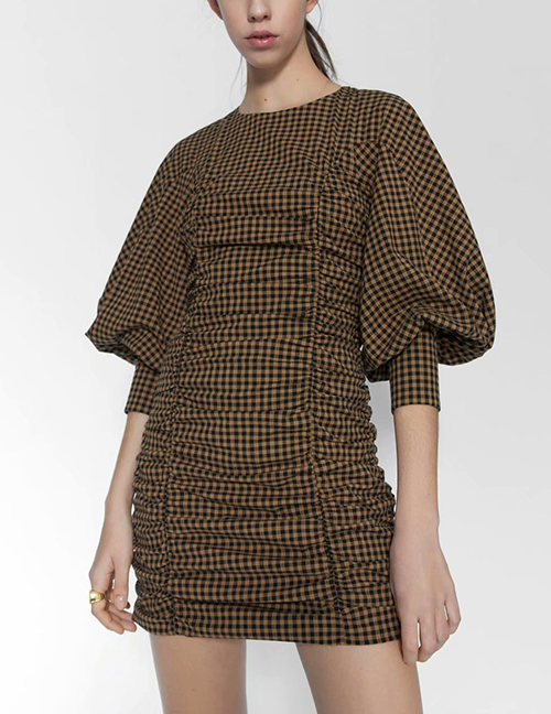 Fashion Ginger Pleated Puff Sleeve Panel Dress