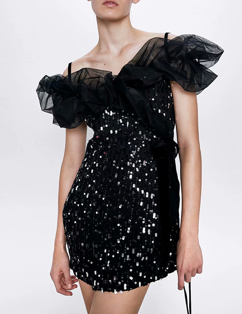 Fashion Black Sequined Mesh Dress