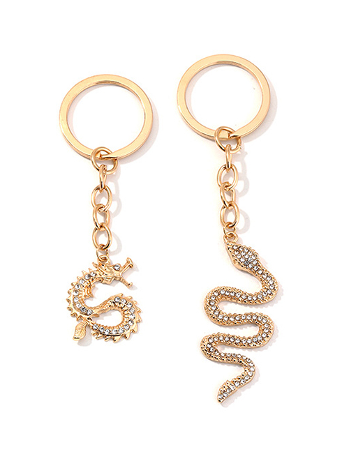 Fashion Golden Alloy Studded Snake Key Zodiac Dragon Key Ring Set
