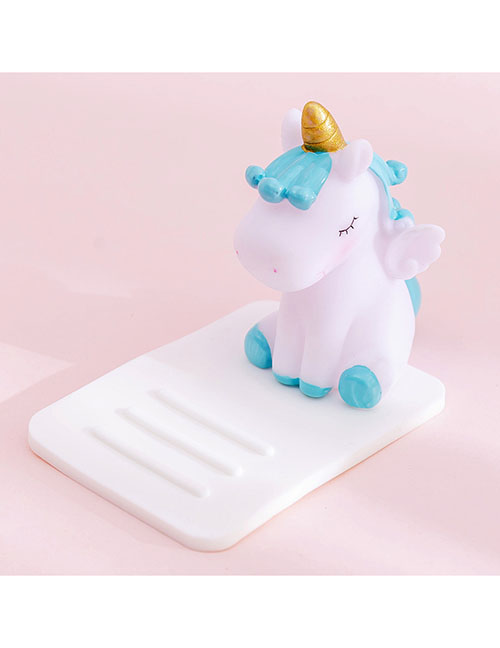Fashion Blue Unicorn On White Unicorn Multifunctional Desktop Car Adjustable Mobile Phone Holder