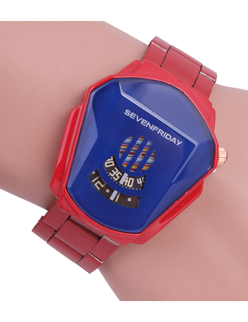 Fashion Red Sports Second Dial Steel Band Boy Watch