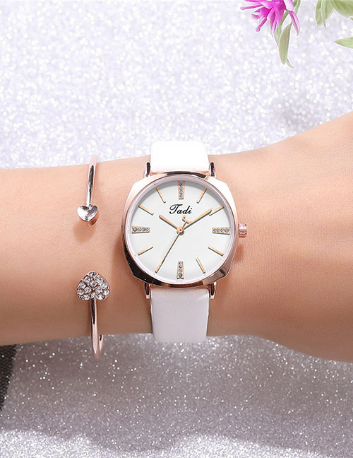 Fashion White Ultra-thin Diamond Strap Watch
