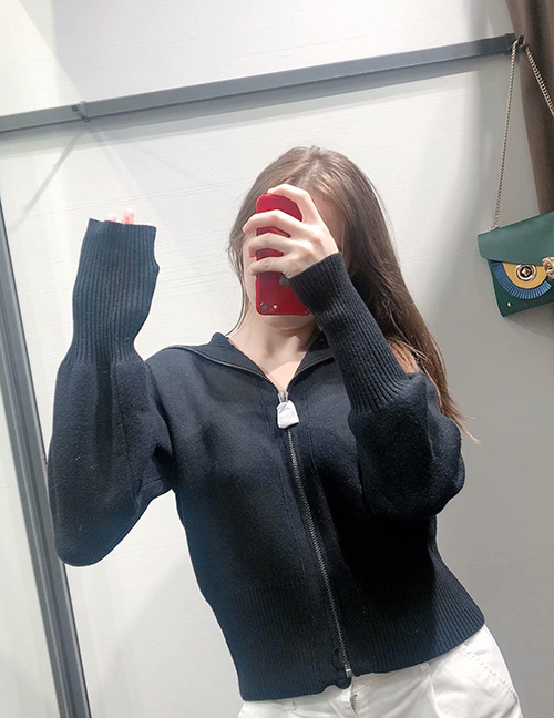 Fashion Black Zip Knitted Sweater Coat