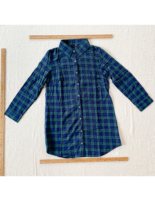Fashion Dark Green Plaid Long Sleeve Shirt