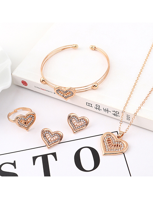Fashion Gold Love Diamond Earrings Necklace Ring Bracelet Set  Alloy