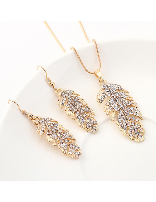 Fashion Kc Gold Leaf Diamond Earrings Necklace Set  Alloy