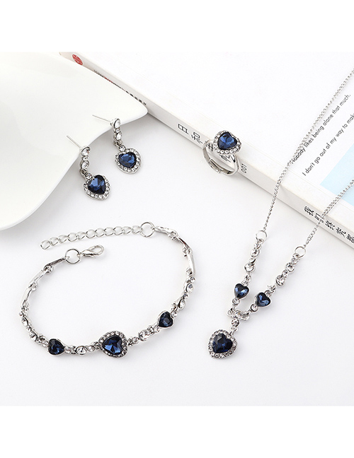 Fashion Silver Small Love Diamond Earrings Necklace Bracelet Set