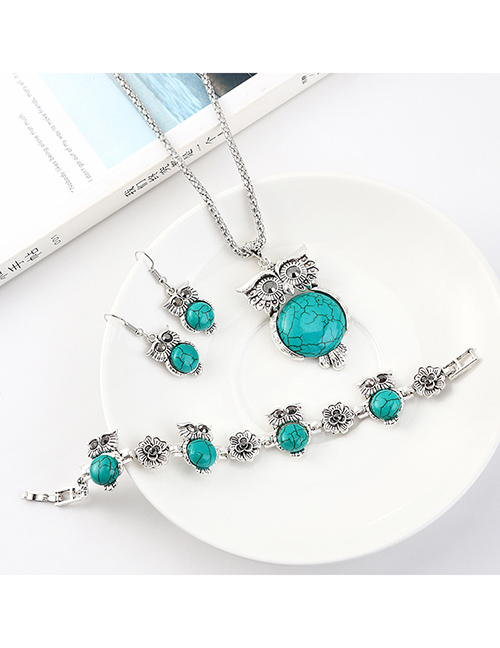 Fashion Blue Owl Diamond Earrings Necklace Bracelet Set  Alloy