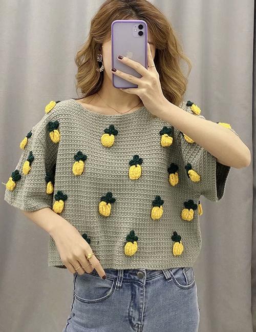 Fashion Grey-green Pineapple Pattern Stitching Pullover Sweater Sweater
