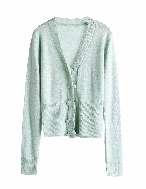 Fashion Green Crochet Wave-trimmed Cardigan