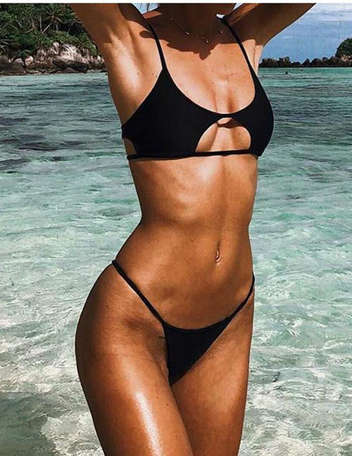 Fashion Black Triangle Split Swimsuit With Cutout Tether Straps