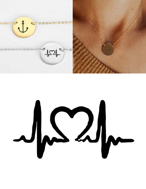 Fashion Golden Stainless Steel Engraved Ecg Adjustable Necklace 13mm