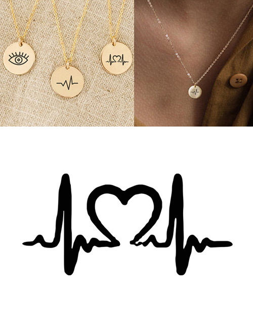 Fashion Steel Color Stainless Steel Engraved Ecg Adjustable Necklace 9mm