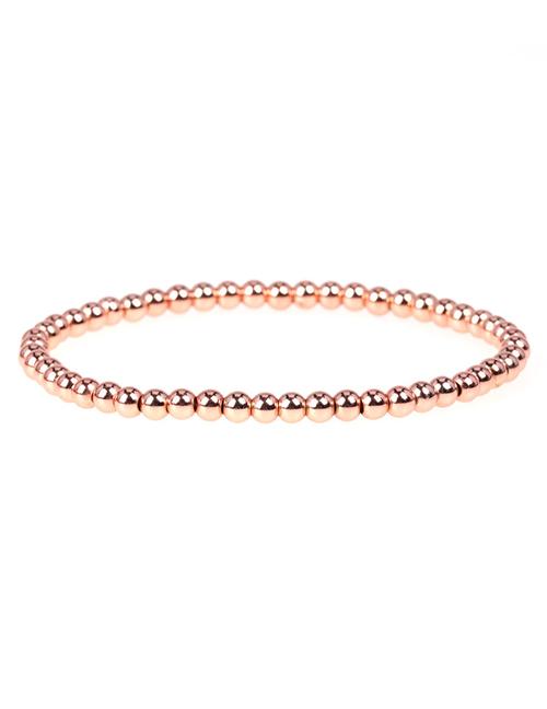 Fashion Rose gold Elastic rope hand-beaded color-preservation electroplated copper bead bracelet