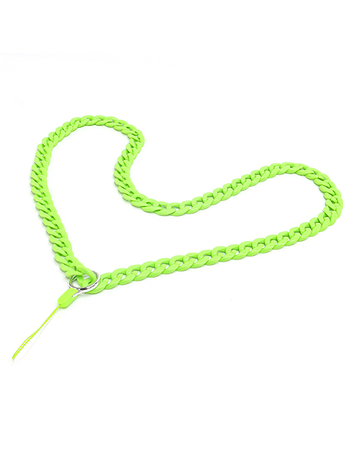 Fashion Green Acrylic Solid Color Chain Hanging Neck Mobile Phone Chain